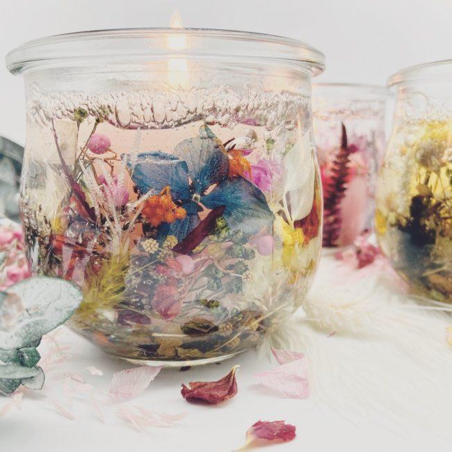 Gelwachskerzen_Trockenblumen